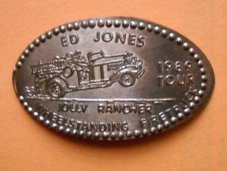 Ed Jones Elongated Penny Usa Cent 1989 Souvenir Coin Jolly Rancher Firetruck photo