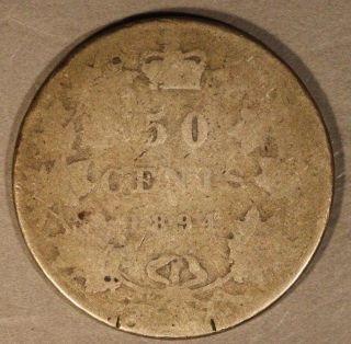 1894 Canada 50 Cents Half Dollar Quite Worn Rare Date U.  S. photo