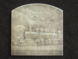 France Silver French Art Medal By Leon Deschamps,  Railwail Train Company 1900 photo