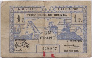 Ww2 Un Franc France Nouvelle Caledonie March 29 1943 Note photo