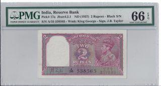 India 1937 2 Rupees,  Pick 17a,  Pmg Gem Uncirculated 66 Epq photo