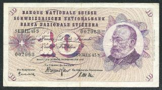 Switzerland 1965 Ten Francs Banknote