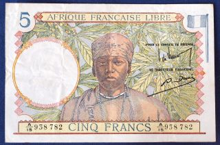 French Equatorial Africa 5 Fr 1941,  P - 6 photo