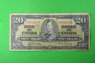 1937 Canada Note 20$ Fine Gordon - Towers B/e3882658.  30$ photo