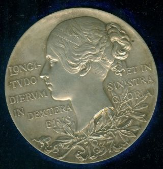 1897 Queen Victoria Diamond Jubilee Large Silver Medal By Royal,  De Saulles photo