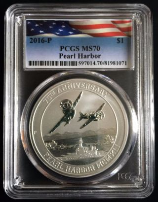 2016 Perth - 1 Troy Oz - Pearl Harbor.  9999 Fine Silver Pcgs Ms 70 photo