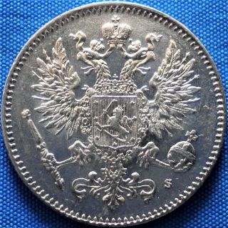 Russian Empire,  Finland 50 Pennia (penniä) 1916,  Silver Coin photo