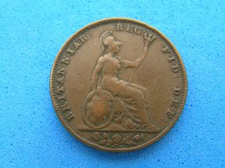 1841 Great Britain Uk Farthing Coin,  Queen Victoria photo