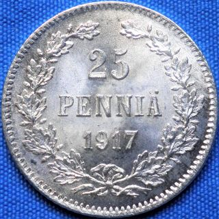 Russian Empire,  Finland 25 Pennia (penniä) 1917,  Silver Coin photo