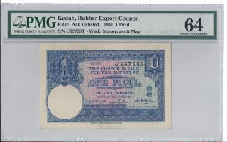 Kedah 1941 1 Picul,  Kr3c,  Rubber Export Coupon,  Pmg Choice Uncirculated 64 photo