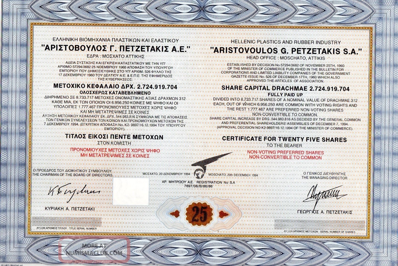 Gr Plastic,  Rubber Petzetakis Sa Title Of 25 Shares Bond Stock Certificate 1994 World photo