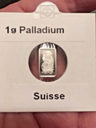 1 Gram Pamp Suisse Palladium Bar.  9995 Fine photo