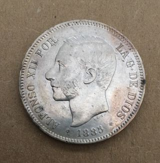 Spain Alfonso Xii 1885 (87) - Mpm 5 Pesetas Silver Coin,  Almost Uncirculated photo