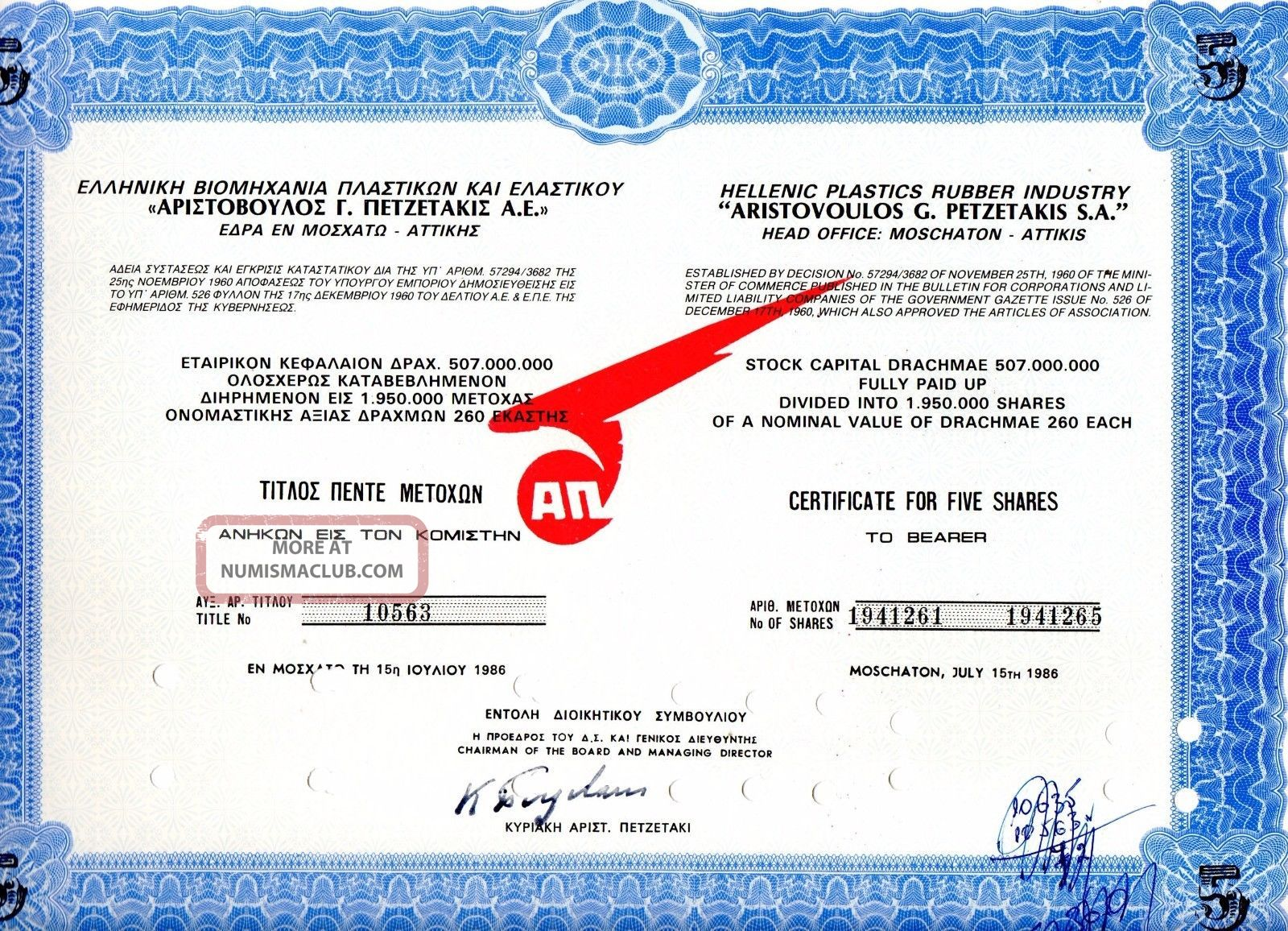 Plastics,  Rubber Petzetakis Sa,  Title Of 5 Shares Bond Stock Certificate 1986 World photo