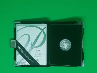 1998 W $10 Platinum Liberty Proof In Ogp photo