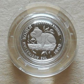 1990 Australia $5 Koala - 1/20 Oz.  9995 Platinum - In Capsule photo