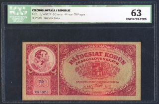 Czechoslovakia 50 Korun Pick 22b Alfons Mucha Painting 1929 Icg 63 Unc photo