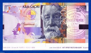 Kba Giori Jules Verne 2004 Lower Sheet Border Specimen Test Note Proof Unc photo