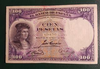 Rare Spain 100 Pesetas 1931 Low Mintage photo
