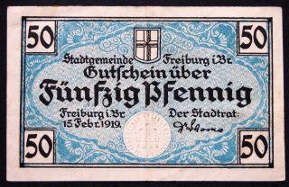Freiburg (baden) 1919 50 Pf German Notgeld photo