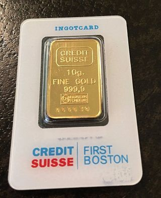 Credit Suisse 10 Gram 9999 Gold Bar - Ingot,  First Boston - Certified photo