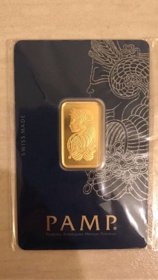 10 - Gram Pamp Suisse Gold Bar.  9999 Fine (in Assay) photo