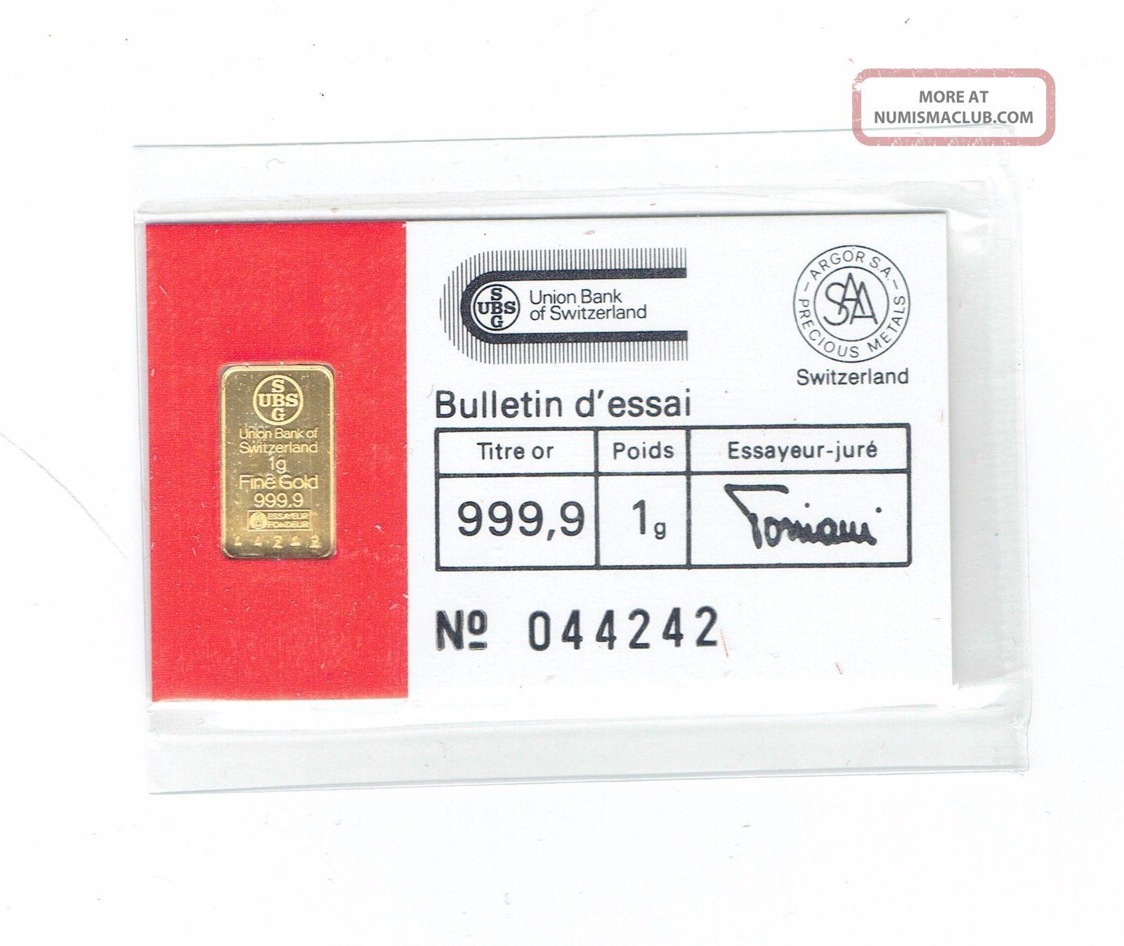 Ubs Swiss Bank Argor S.  A.  Chiasso Gold Bar 1 Gram.  999 Gold photo