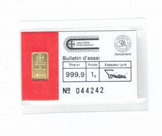 Ubs Swiss Bank Argor S.  A.  Chiasso Gold Bar 1 Gram.  999 photo