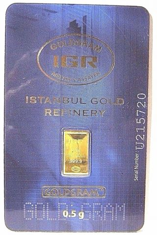 1/2 Gram.  5 G Gold Igr Assay.  9999 Bar $0 Ship W/track photo