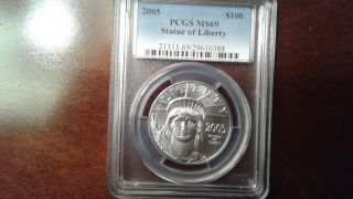 Rare 2005 1 Oz.  Platinum Eagle $100 Pcgs Ms69 Only 6,  310 Minted photo
