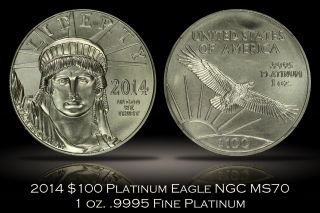 2014 $100 1 Oz.  9995 Fine Platinum Eagle Ngc Ms70 Early Releases Perfect Grade photo