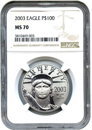 2003 Platinum Eagle $100 Ngc Ms70 - Statue Liberty 1 Oz photo