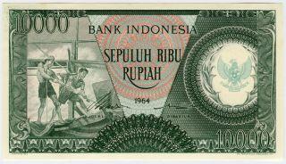 Indonesia 1964 Issue 10,  000 Rupiah Crisp Note Gem - Unc. photo
