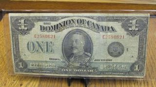 1923 Dominion Of Canada $1 Bank Note Campbell Clark Black Seal photo