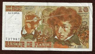 France 10 Francs 1976 Banknote No 737987 - Composer Hector Berlioz - Watermark photo