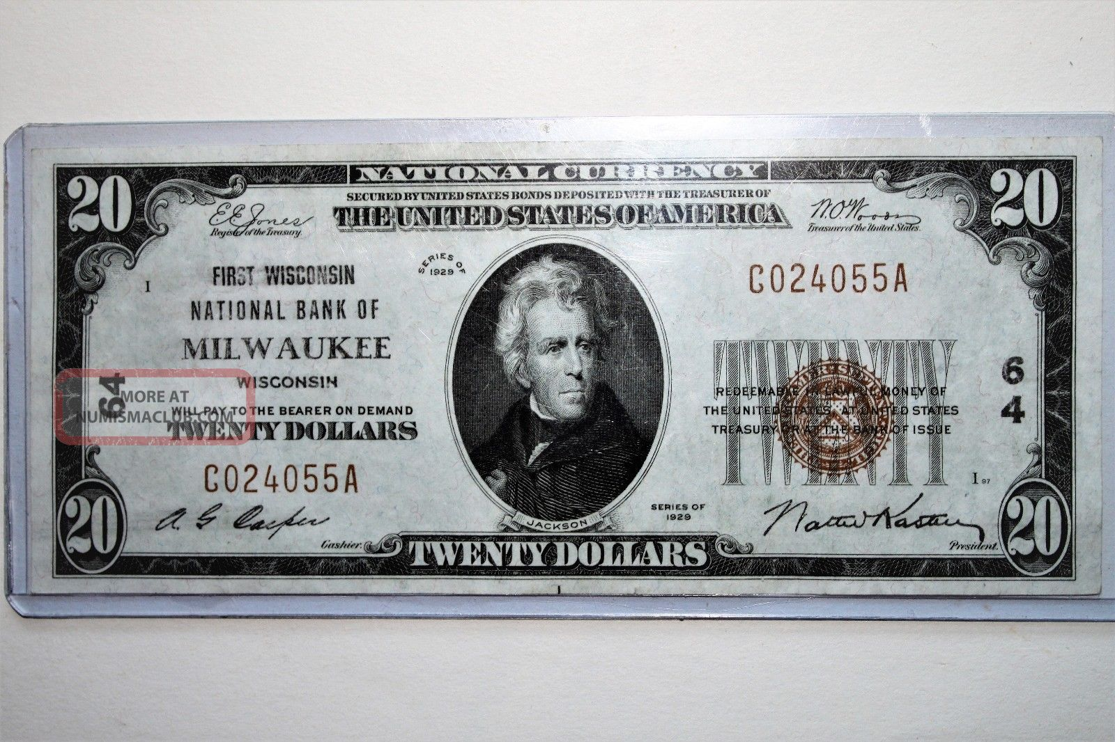 1929 Fr 1802 - 1$20 First Wisconsin National Bank Of Milwaukee National Bank Note. Small Size Notes photo
