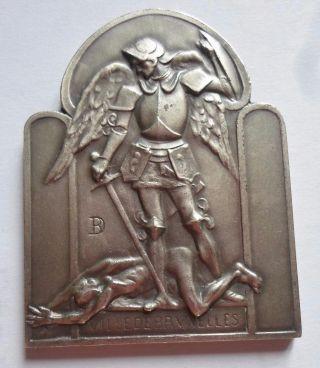 Archangel Saint Michael & Devil Silvered Bronze Medal photo