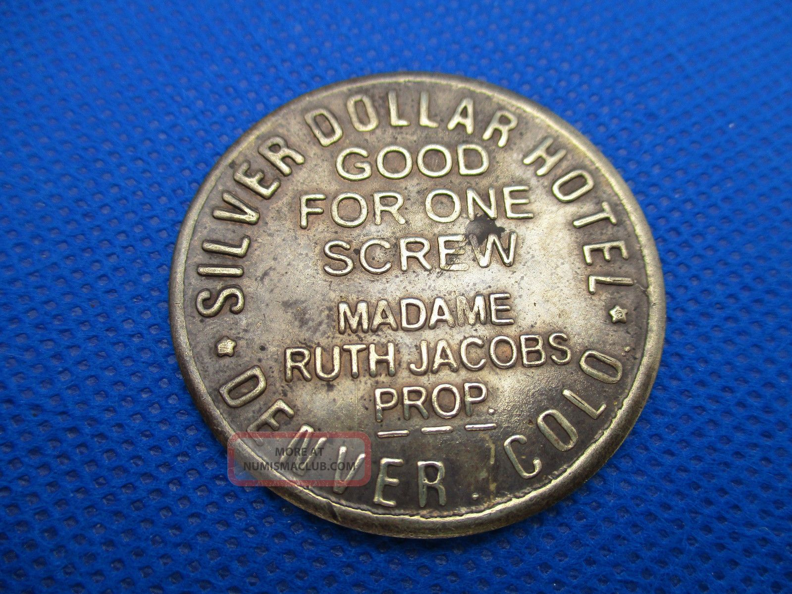 Reproduction Token Coin Silver Dollar Hotel Brothel Denver $3 One Screw Brass Exonumia photo