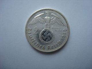2 Reichsmark 1939 A German Hitler Silver Coin Third Reich Nazi Swastika Ww2 photo