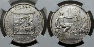 Ngc Au Czechoslovakia Czechoslov 1933 10 Korun Silver Coin Rare 915000 photo