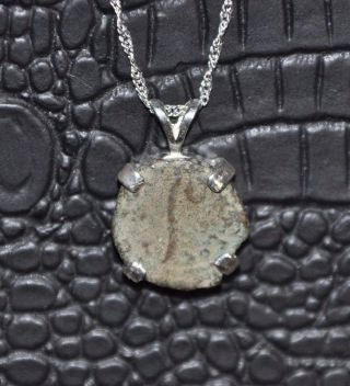 Pontius Pilate Jesus Crucifier Authentic Roman Coin 925 Sterling Silver Necklace photo