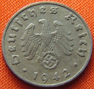 Ww2 German 1942 - F 1 Rp Reichspfennig 3rd Reich Zinc Nazi Coin (rl 1540) photo