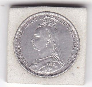 1891 Queen Victoria Sixpence (6d) Sterling Silver British Coin photo