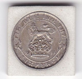 1911 King George V Sixpence (6d) Sterling Silver British Coin photo