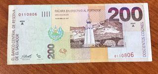 El Salvador Banknote 200 Colones 1997 - Serie
