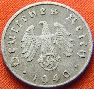Ww2 German 1940 - A 5 Rp Reichspfennig 3rd Reich Zinc Nazi Coin (rl 1515) photo