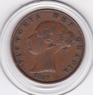 1857 Queen Victoria Half Penny (1/2d) Copper Coin photo