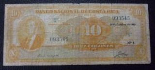 Costa Rica Banknote 10 Colones,  Pick 210a F 1942 photo