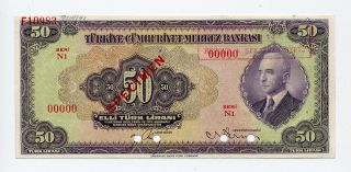Turkey Specimen 50 Lira 1930 (1942),  99c photo