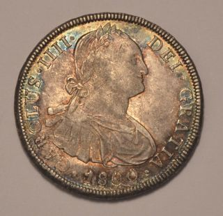 1800 Spain - 8 Reales - Carlos Iv - Potosi Pp - Aunc Silver Coin photo